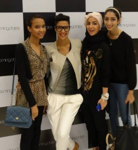 Meeting fashion stylist Farah (center left).
