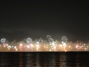 New Year's fireworks display over Palm Jumeirah in the Arabian Gulf.